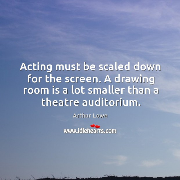 Image, Acting must be scaled down for the screen. A drawing room is a lot smaller than a theatre auditorium.