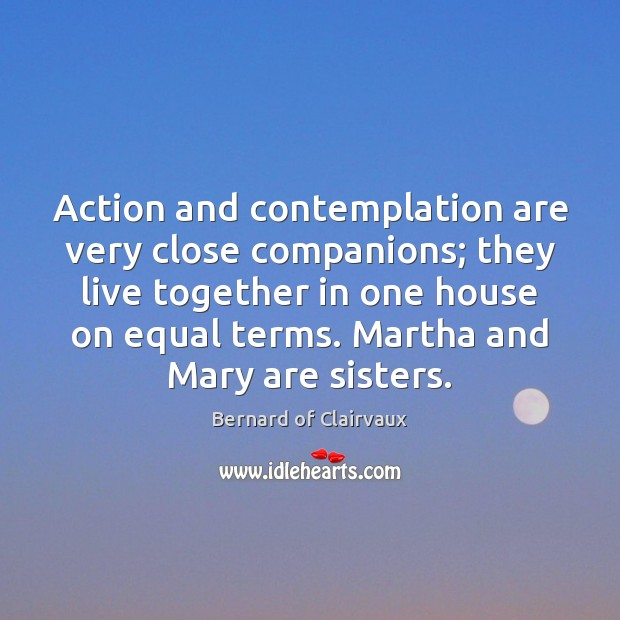 Action and contemplation are very close companions; they live together in one Image