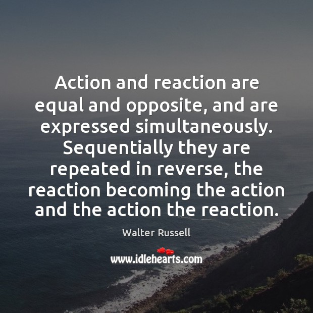 Image, Action and reaction are equal and opposite, and are expressed simultaneously. Sequentially