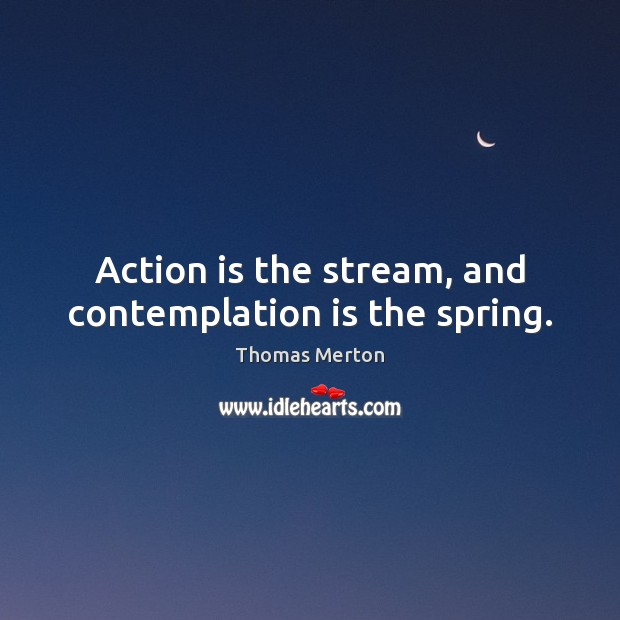 Action is the stream, and contemplation is the spring. Image