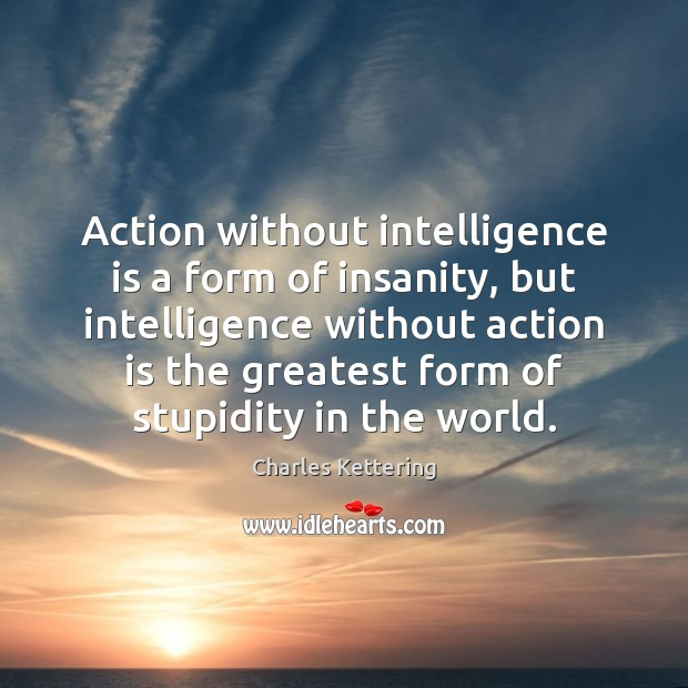 Action without intelligence is a form of insanity, but intelligence without action Charles Kettering Picture Quote