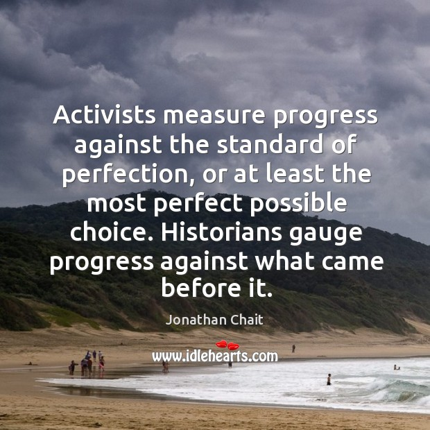 Activists measure progress against the standard of perfection, or at least the Image