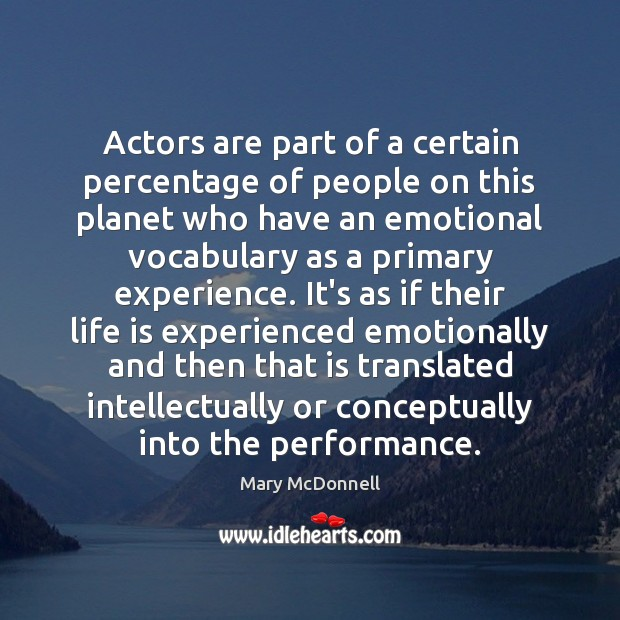 Actors are part of a certain percentage of people on this planet Image