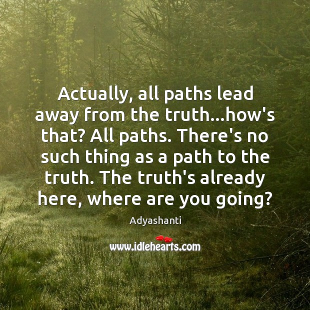 Image, Actually, all paths lead away from the truth…how's that? All paths.