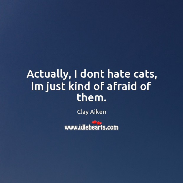 Actually, I dont hate cats, Im just kind of afraid of them. Clay Aiken Picture Quote