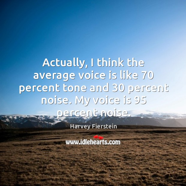 Image, Actually, I think the average voice is like 70 percent tone and 30 percent noise.