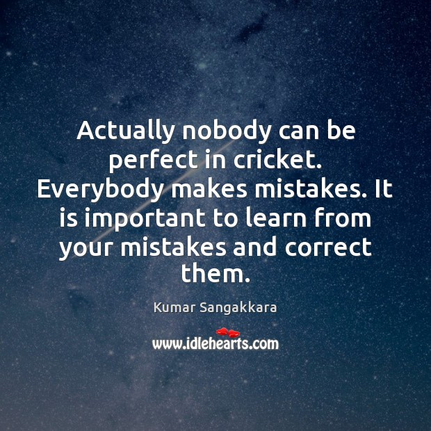Actually nobody can be perfect in cricket. Everybody makes mistakes. It is Image