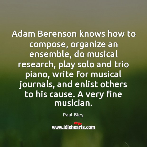 Adam Berenson knows how to compose, organize an ensemble, do musical research, Image