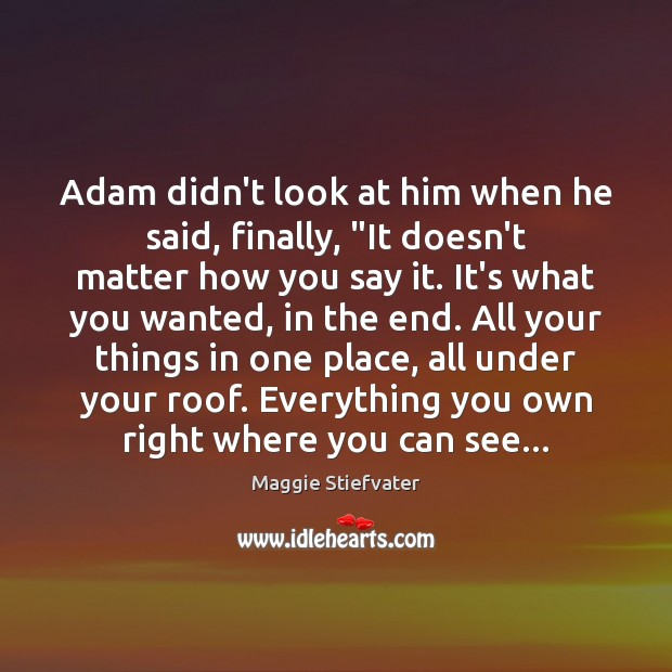 "Image, Adam didn't look at him when he said, finally, ""It doesn't matter"