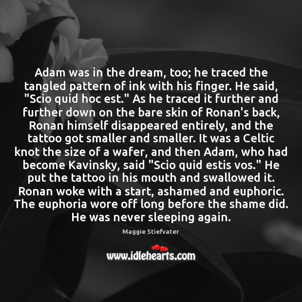 Adam was in the dream, too; he traced the tangled pattern of Maggie Stiefvater Picture Quote