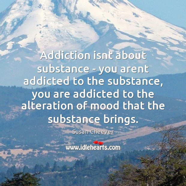 Addiction isn't about substance – you aren't addicted to the substance Susan Cheever Picture Quote