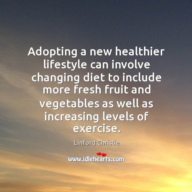 Adopting a new healthier lifestyle can involve changing diet to include more fresh fruit and Image