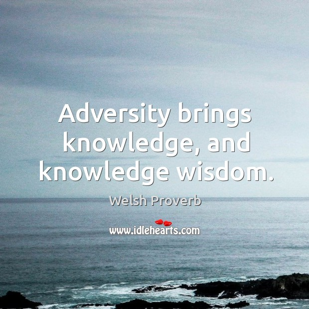 Adversity brings knowledge, and knowledge wisdom. Welsh Proverbs Image