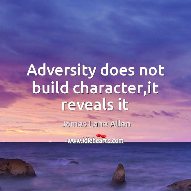 Image, Adversity does not build character,it reveals it