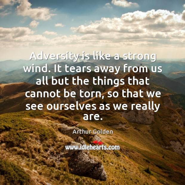 Adversity is like a strong wind. It tears away from us all but the things that cannot be Image