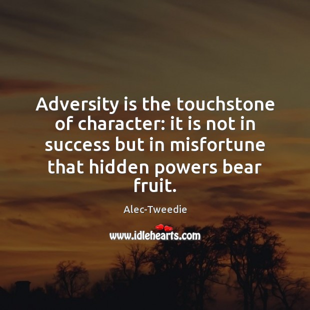 Image, Adversity is the touchstone of character: it is not in success but