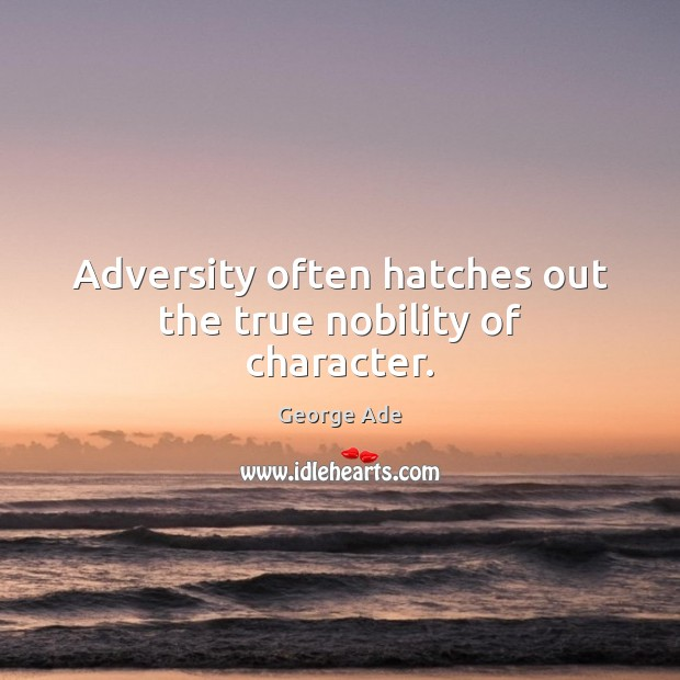 Adversity often hatches out the true nobility of character. George Ade Picture Quote