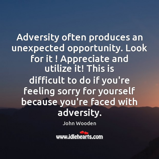 Adversity often produces an unexpected opportunity. Look for it ! Appreciate and utilize Image
