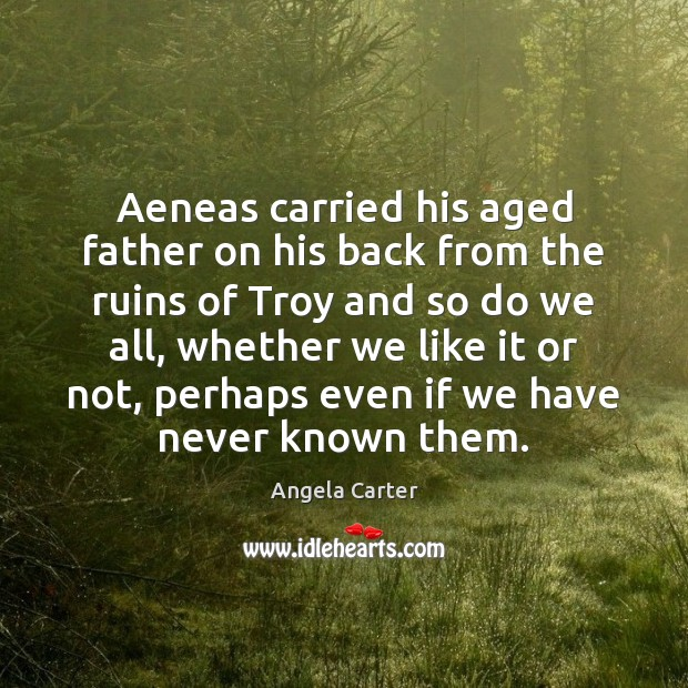 Image, Aeneas carried his aged father on his back from the ruins of