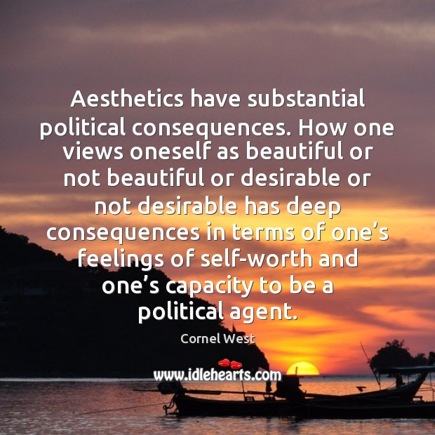 Image, Aesthetics have substantial political consequences. How one views oneself as beautiful or