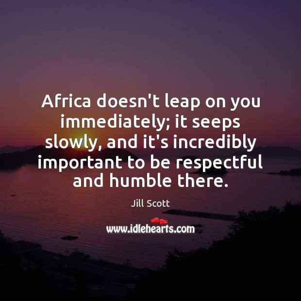 Africa doesn't leap on you immediately; it seeps slowly, and it's incredibly Jill Scott Picture Quote