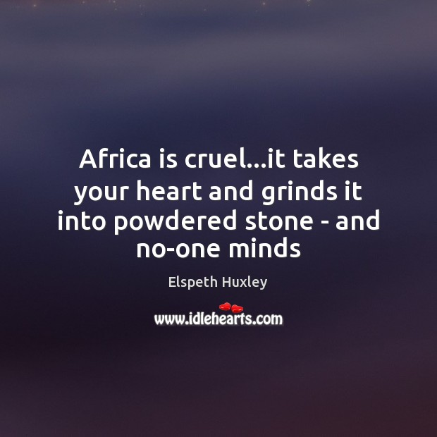Africa is cruel…it takes your heart and grinds it into powdered stone – and no-one minds Image