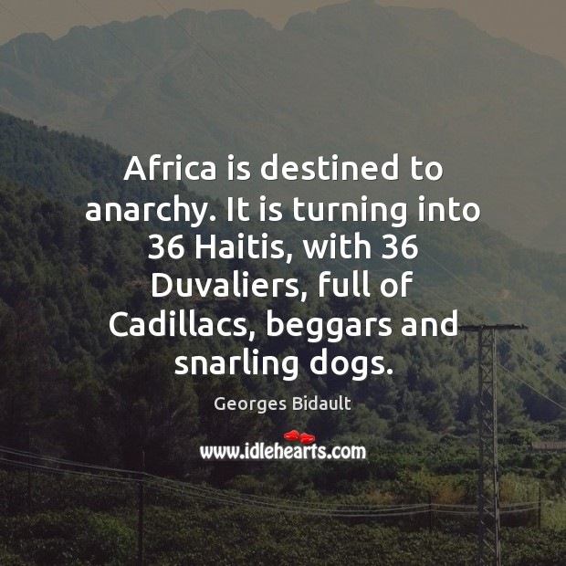 Africa is destined to anarchy. It is turning into 36 Haitis, with 36 Duvaliers, Image