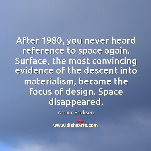 Image, After 1980, you never heard reference to space again.