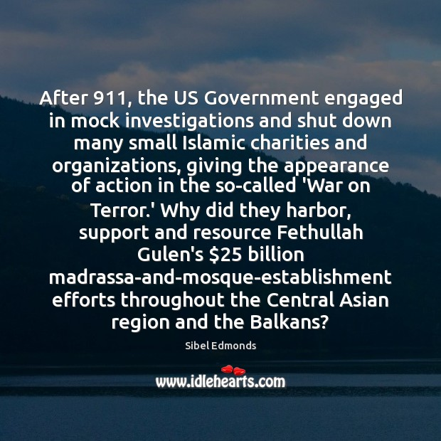 After 911, the US Government engaged in mock investigations and shut down many Image