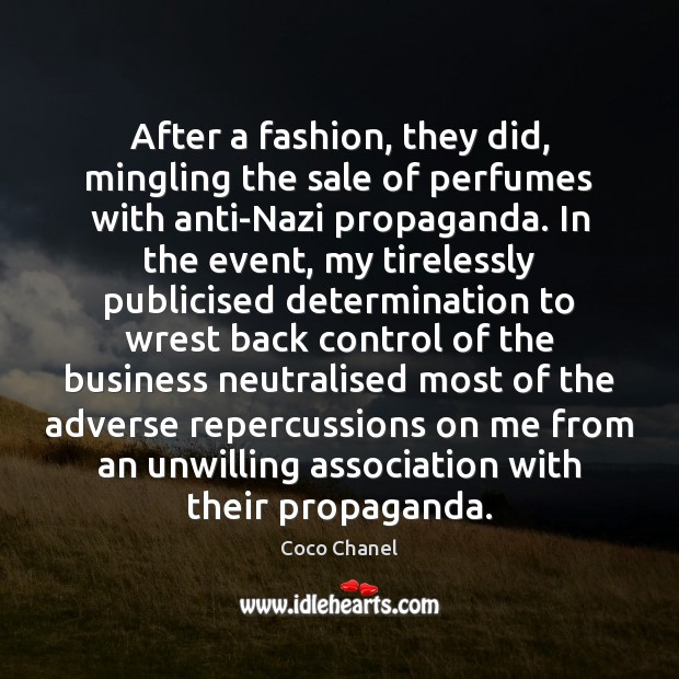 After a fashion, they did, mingling the sale of perfumes with anti-Nazi Image