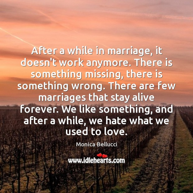 After a while in marriage, it doesn't work anymore. There is something Monica Bellucci Picture Quote