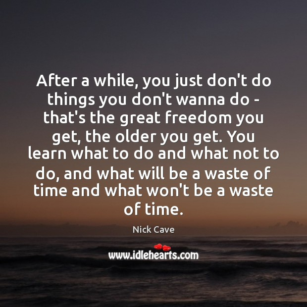 After a while, you just don't do things you don't wanna do Nick Cave Picture Quote