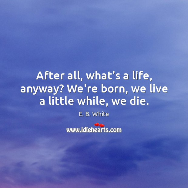 After all, what's a life, anyway? We're born, we live a little while, we die. E. B. White Picture Quote
