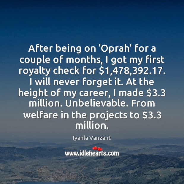 After being on 'Oprah' for a couple of months, I got my Iyanla Vanzant Picture Quote