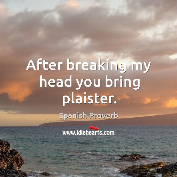 Image, After breaking my head you bring plaister.