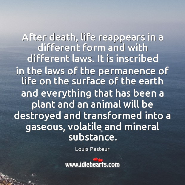 After death, life reappears in a different form and with different laws. Image