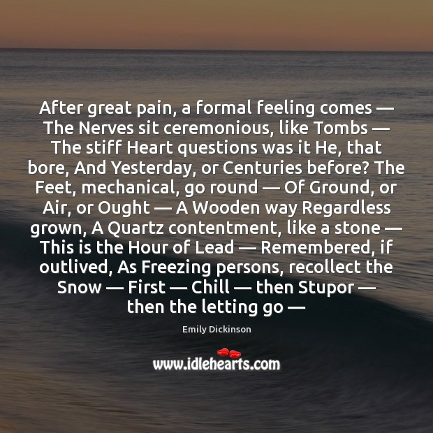 After great pain, a formal feeling comes — The Nerves sit ceremonious, like Letting Go Quotes Image