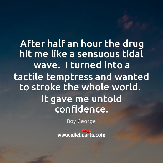 After half an hour the drug hit me like a sensuous tidal Boy George Picture Quote