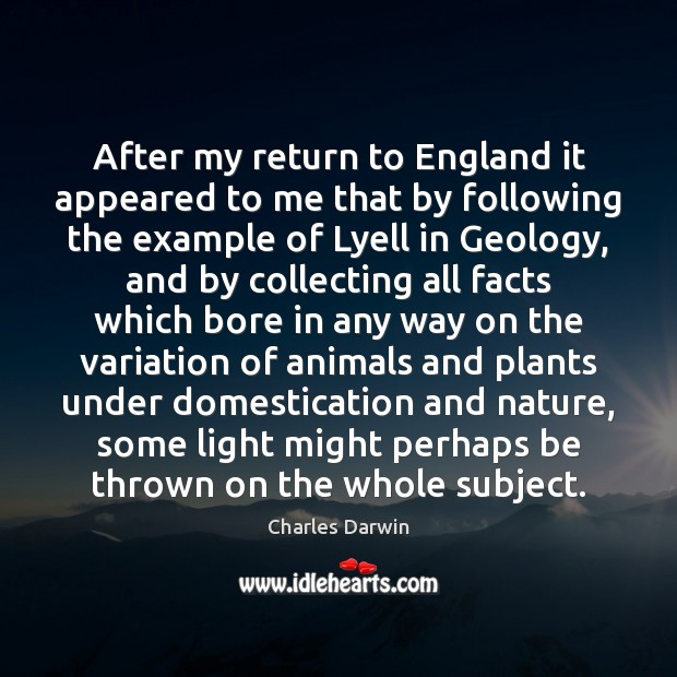 After my return to England it appeared to me that by following Charles Darwin Picture Quote
