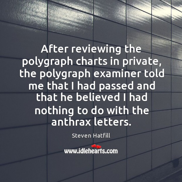 After reviewing the polygraph charts in private, the polygraph examiner told me that I had Image