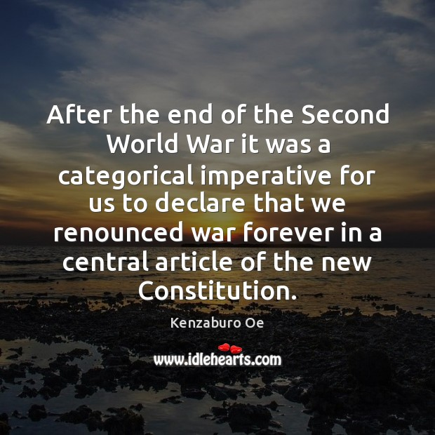 After the end of the Second World War it was a categorical Image