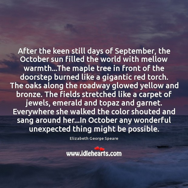 After the keen still days of September, the October sun filled the Image