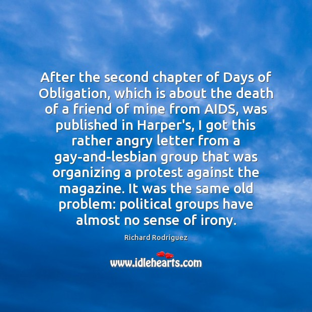 After the second chapter of Days of Obligation, which is about the Image