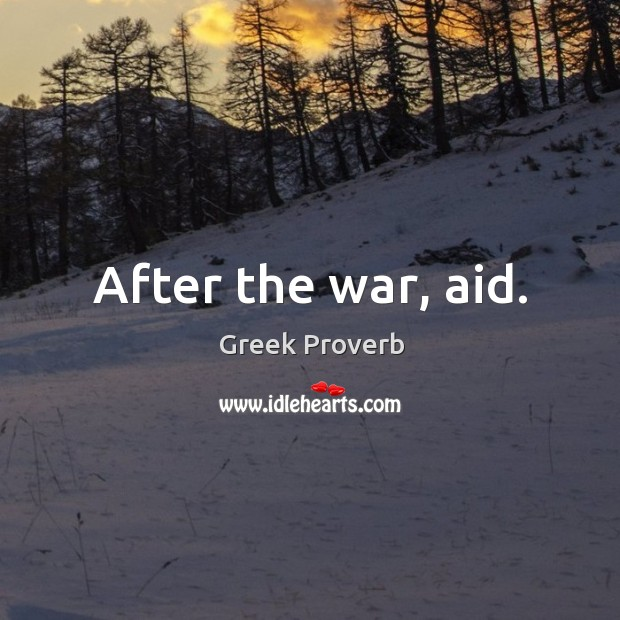 Image, After the war, aid.