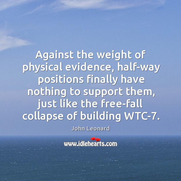 Against the weight of physical evidence, half-way positions finally have nothing to support them Image