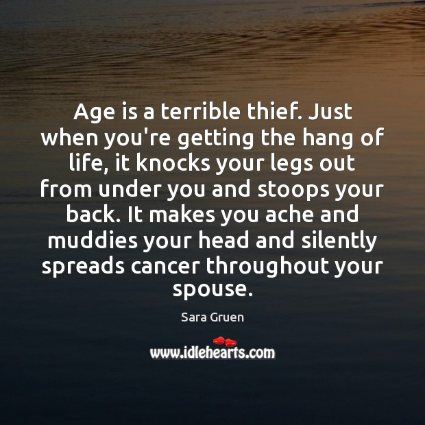 Age is a terrible thief. Just when you're getting the hang of Sara Gruen Picture Quote