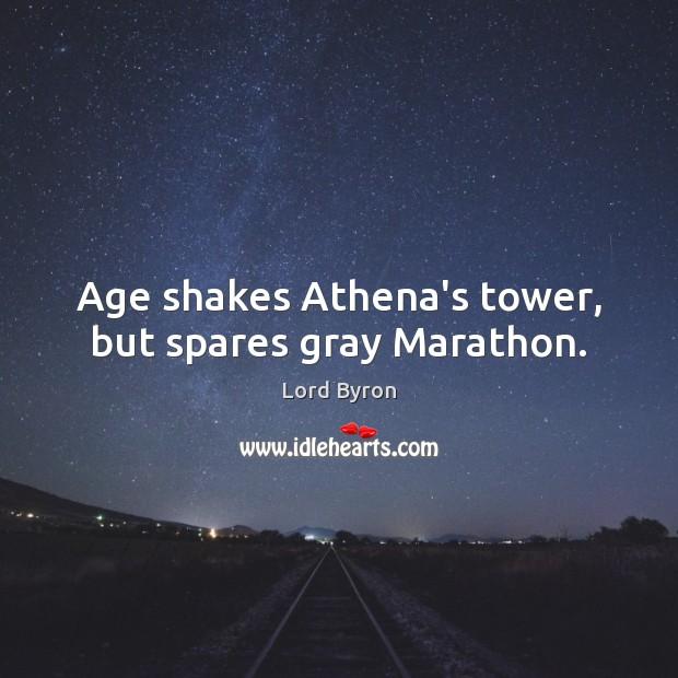 Age shakes Athena's tower, but spares gray Marathon. Image