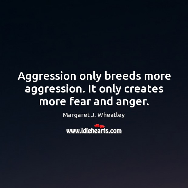 Aggression only breeds more aggression. It only creates more fear and anger. Margaret J. Wheatley Picture Quote
