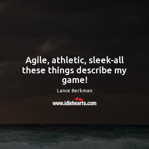 Image, Agile, athletic, sleek-all these things describe my game!