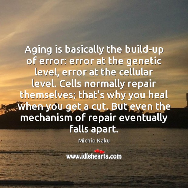 Michio Kaku Picture Quote image saying: Aging is basically the build-up of error: error at the genetic level,